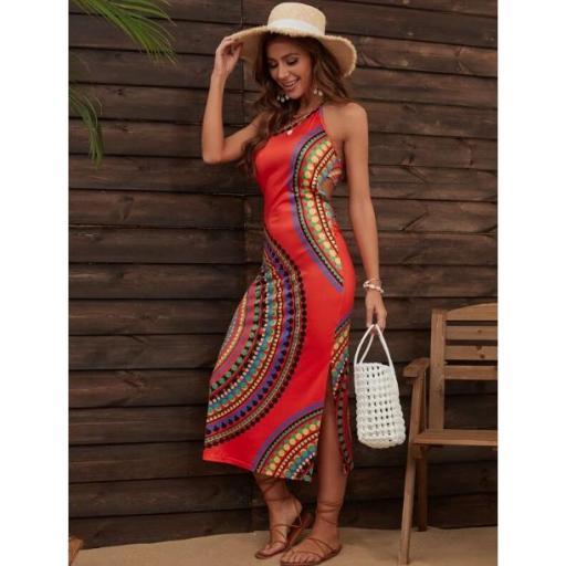 Vestido de playa con patrón geométrico