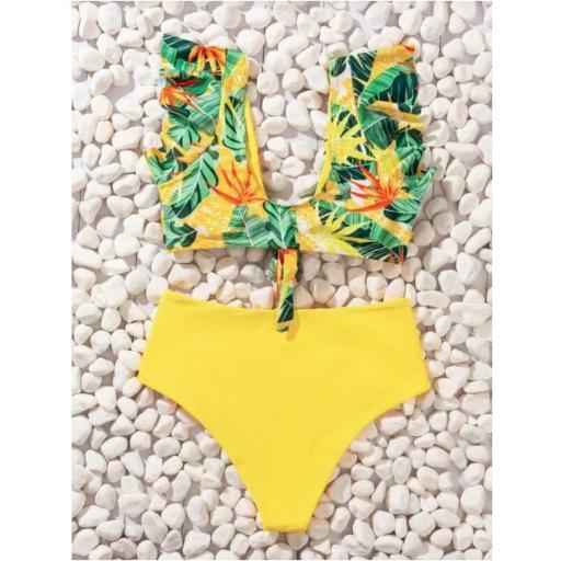 Bañador bikini con fruncido con estampado  [1]
