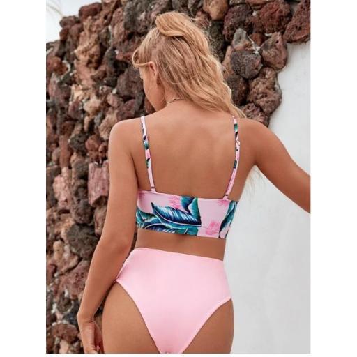 Bañador bikini de cintura alta tropical al azar [1]