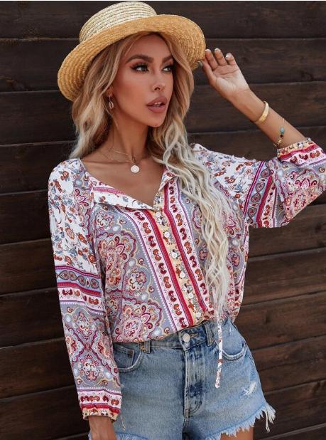 Camisa de cuello con cordón con estampado flora