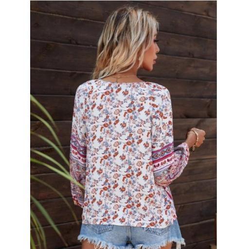 Camisa de cuello con cordón con estampado flora [1]