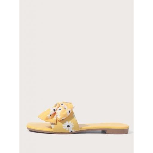 Sandalias con estampado floral con diseño de lazo [2]