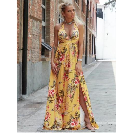 vestido maxi floral con abertura M de espalda con cordón de cuello profundo
