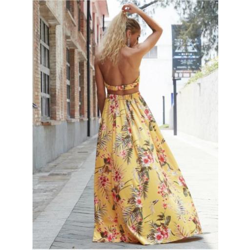 vestido maxi floral con abertura M de espalda con cordón de cuello profundo [1]