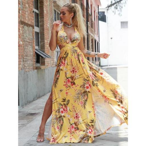 vestido maxi floral con abertura M de espalda con cordón de cuello profundo [2]