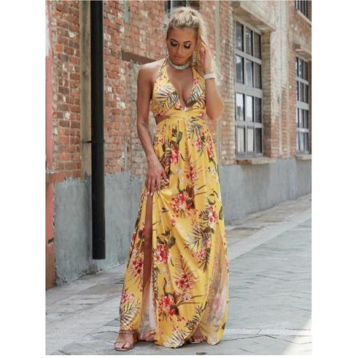 vestido maxi floral con abertura M de espalda con cordón de cuello profundo [3]