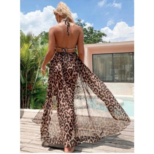 Kimono de malla transparente con estampado de leopardo [1]