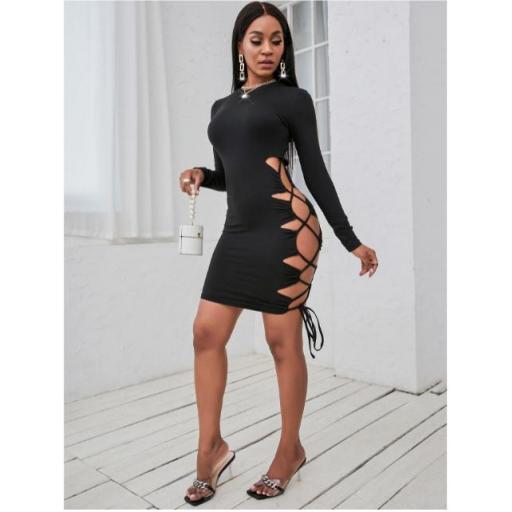 Vestido ajustado con abertura con cordón lateral [1]