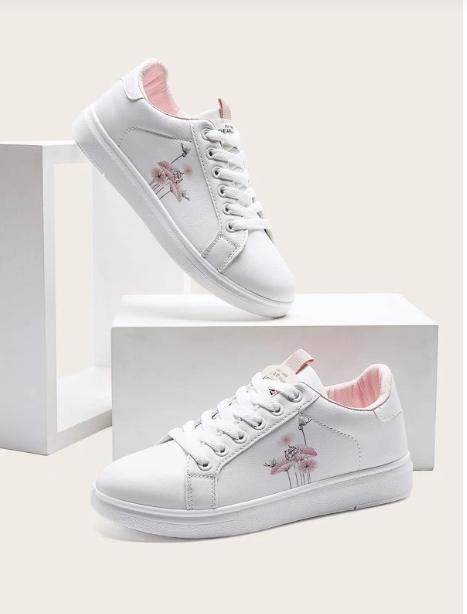 Zapatillas de skate con patrón de planta con cordón delantero
