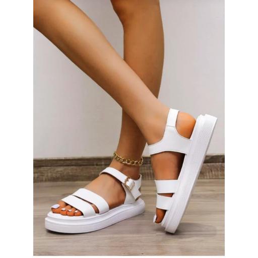 Sandalias de plataforma plana minimalista con diseño de hebilla [1]