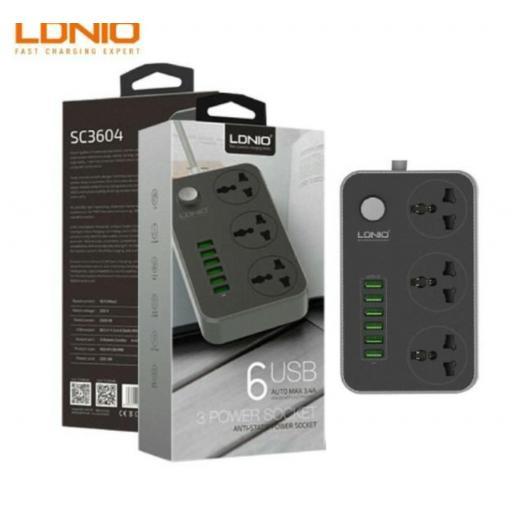 Enchufe múltiple corriente y USB. 6 tomas.