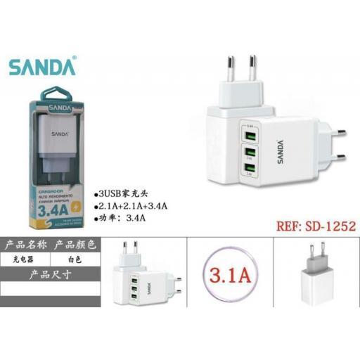 Adaptador USB. 3 salidas.