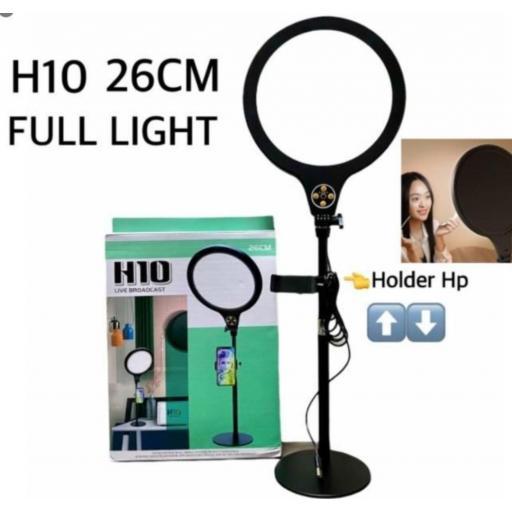Aro de luz H10. 26cm con soporte para el móvil.