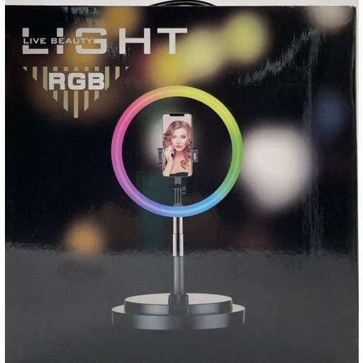 Aro de luz de mesa plegable multicolor.