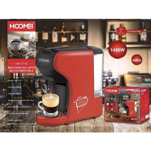 Cafetera de cápsulas compatible Nespresso y Lavazza y con café molido.