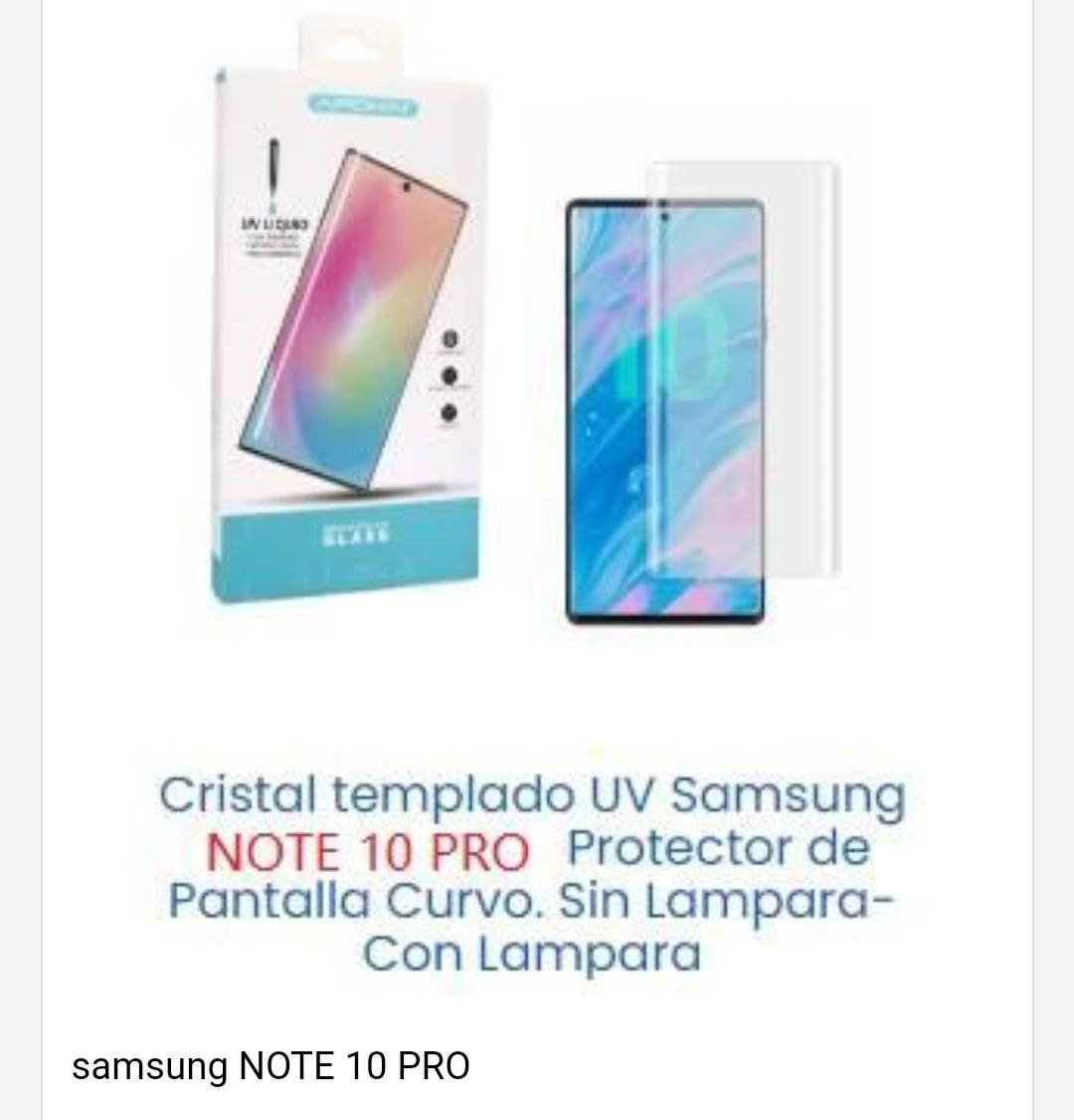 Cristal templado Samsung Note 10 pro
