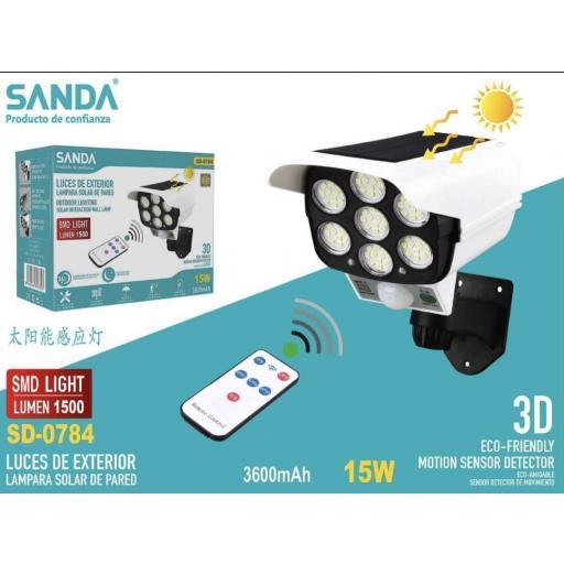 Lámpara solar de pared con mando y sensor de movimiento. 15w.3600mAh.