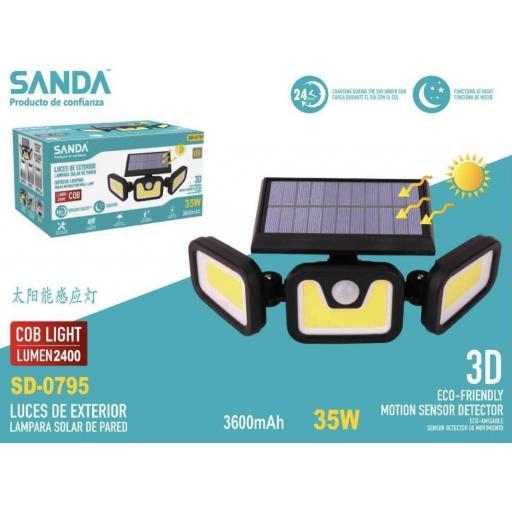 Foco solar de pared de 35w. 3600mAh. Con sensor de movimiento.