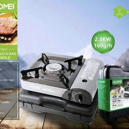 Cocina de gas portátil. Potencia térmica 2.3kw 160g/h Producto nuevo. Bombona incluída.