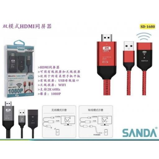 Cable HDMI 2 en 1 para smartphone.