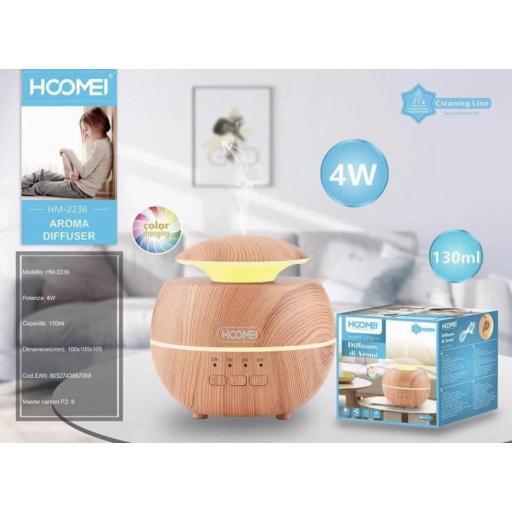 Humidificador de aromas con luz led. 4w. 130ml.