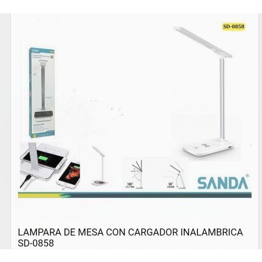 Lámpara de mesa con cargador.
