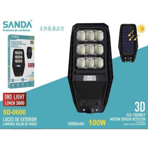 Lámpara solar de 100w. Sensor de movimiento . 3000 lúmenes.