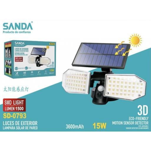 Lámpara solar de pared de 15w.