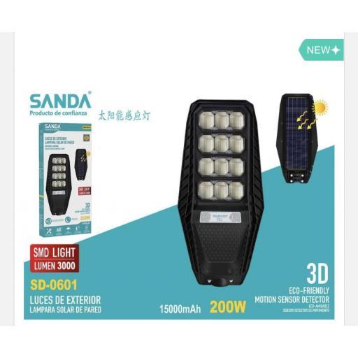 Lámpara solar de 200w. 3000 lúmenes. Sensor de movimiento.