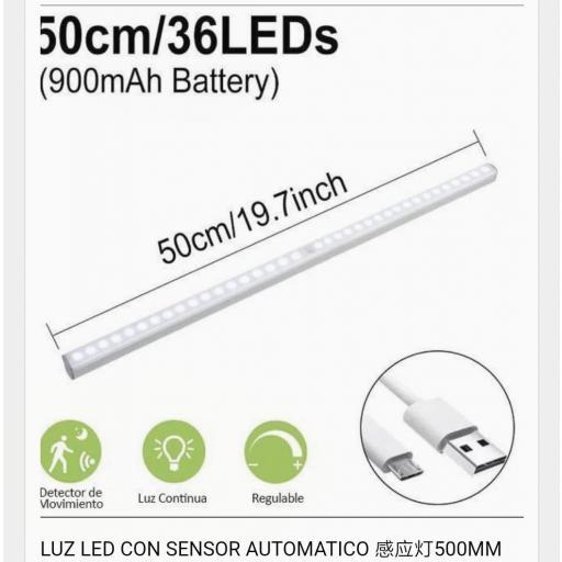 Lámpara auxiliar con sensor de movimiento. 36 leds. 50cm .