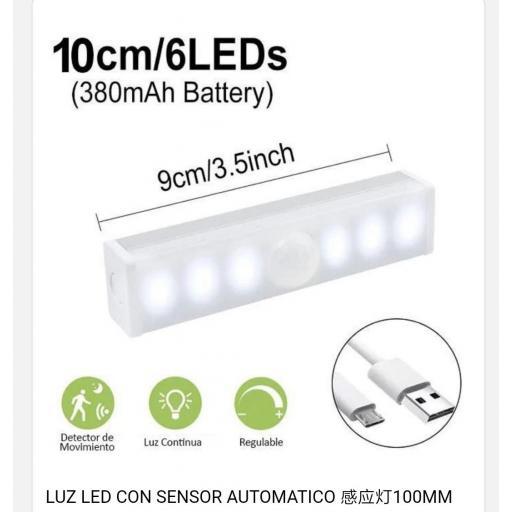 Lámpara auxiliar con sensor de movimiento. 6 leds. 10cm.