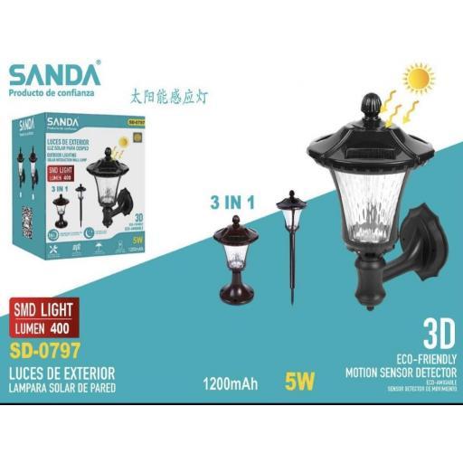 Lámpara solar 3 en 1. pared,césped o suelo.
