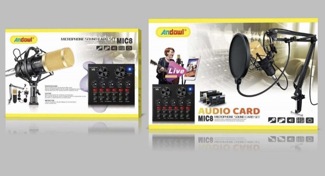 Micrófono de condensadores + controlador de sonido.