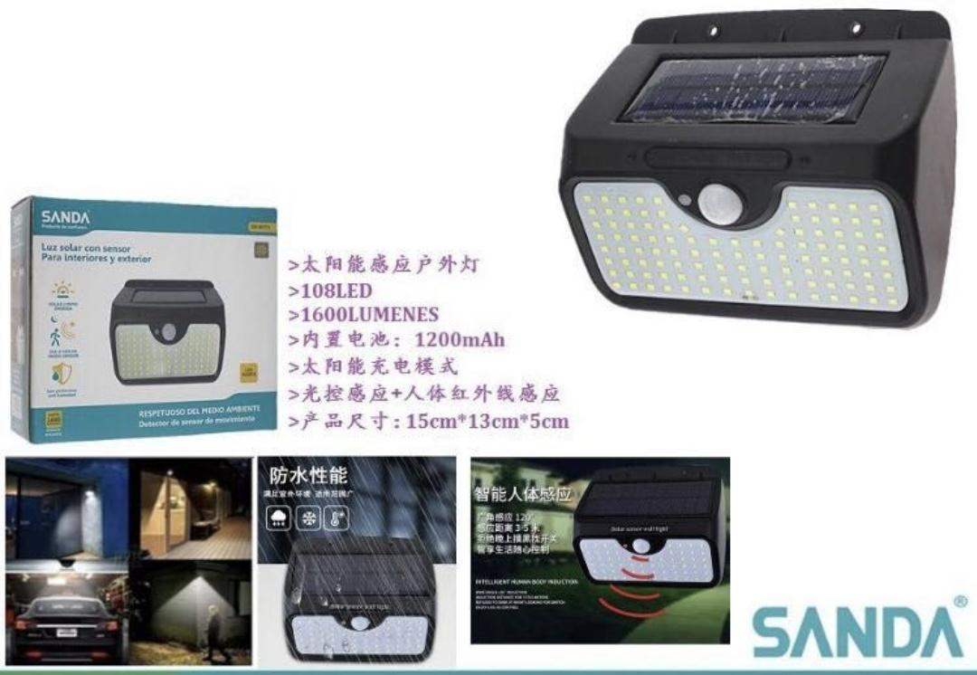 Mini lámpara solar con sensor de movimiento.