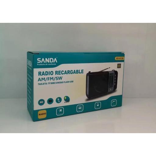 Mini radio recargable.
