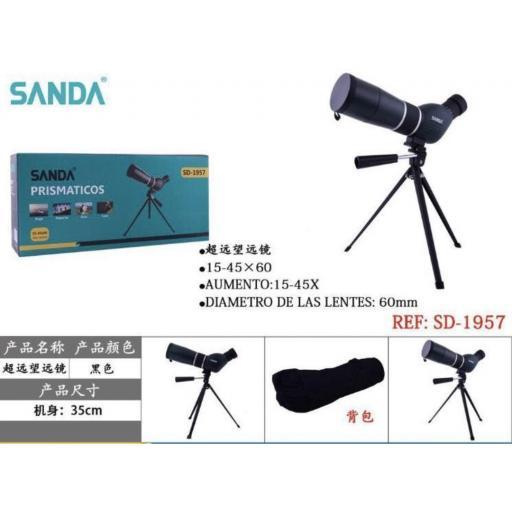 Prismático con lente 60mm.