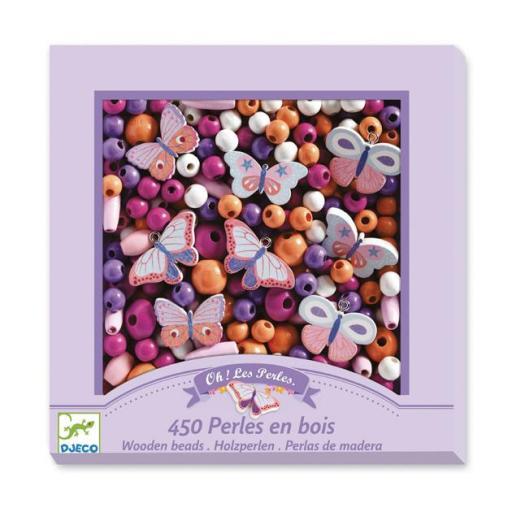 450 perlas de madera: mariposas