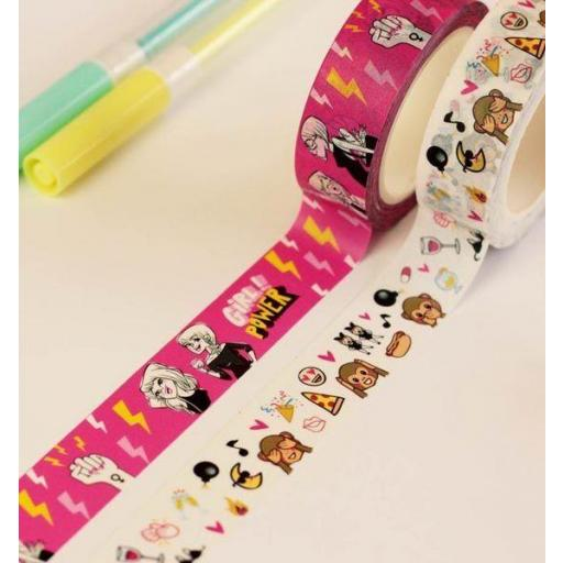 CINTA WASHI TAPE GIRL POWER Y PARTY HARD PACK 2 UNIDADES [0]