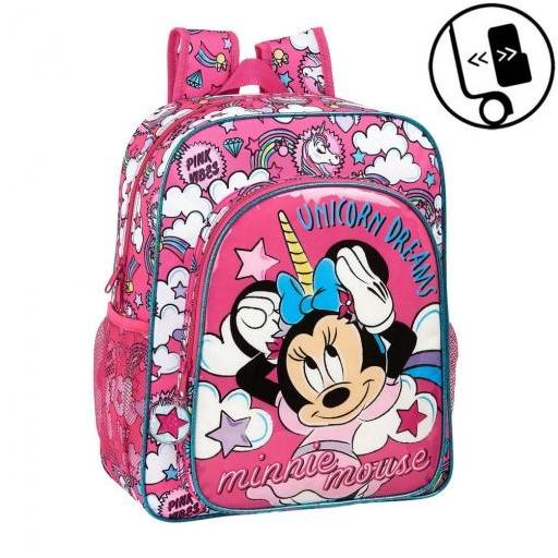 MOCHILA ESCOLAR SAFTA MINNIE MOUSE UNICORNS MOCHILA JUNIOR ADAPTABLE A CARRO 320X120X380 MM