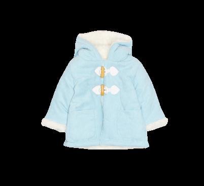 Chaquetón abrigo unisex de bebé en celeste y rosa