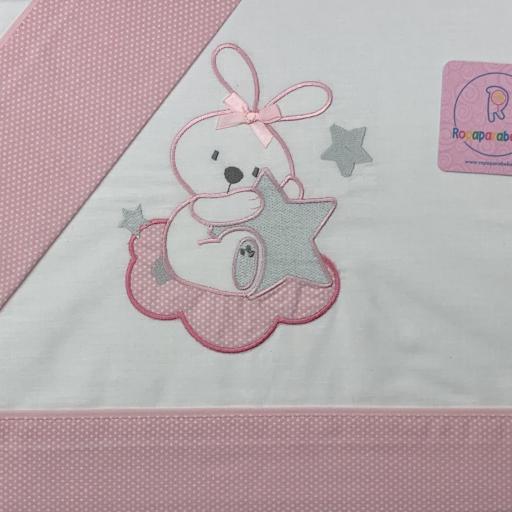 Sábana mini cuna 50 x 80 en rosa Conejita