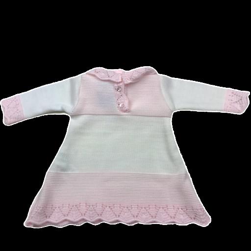 Vestido de punto de primera puesta en rosa y blanco [1]