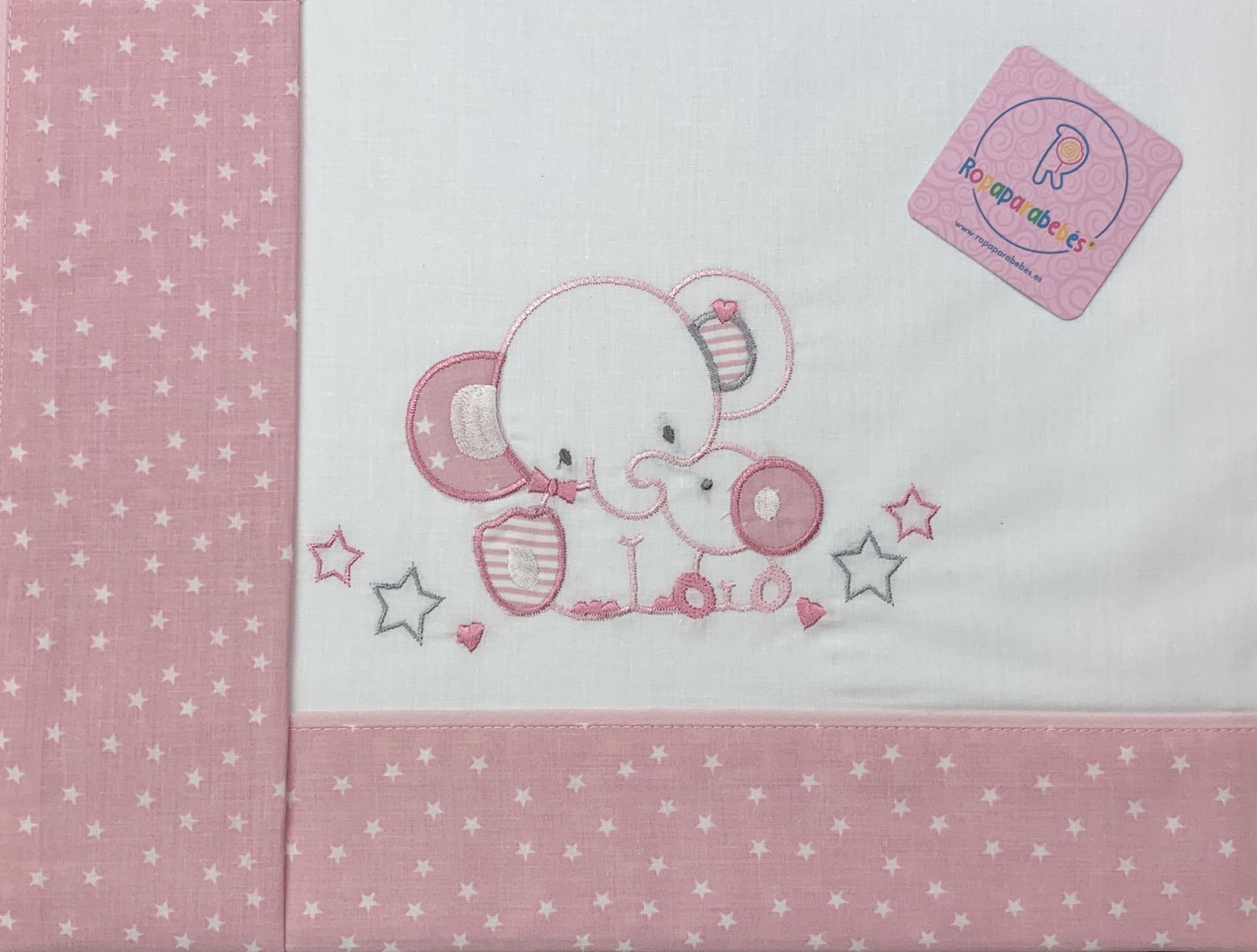Sábana mini cuna 50 x 80 en rosa Elefante