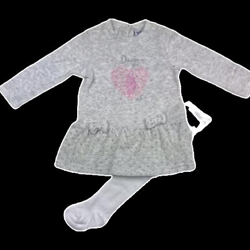 Vestido con leotardos tundosado en gris para niña Dance