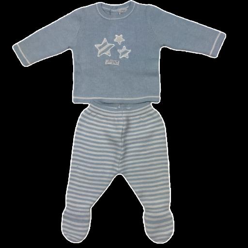 Conjunto primera puesta niño polaina 2 piezas en algodón tricot Stars