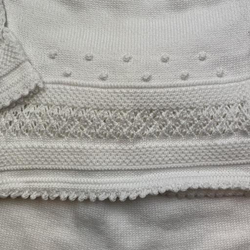 Conjunto de algodón 3 piezas punto garbanzo en blanco [1]