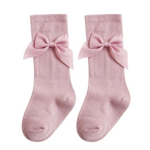 Calcetín medio con lazo en rosa
