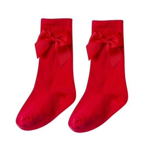 Calcetín medio con lazo en rojo