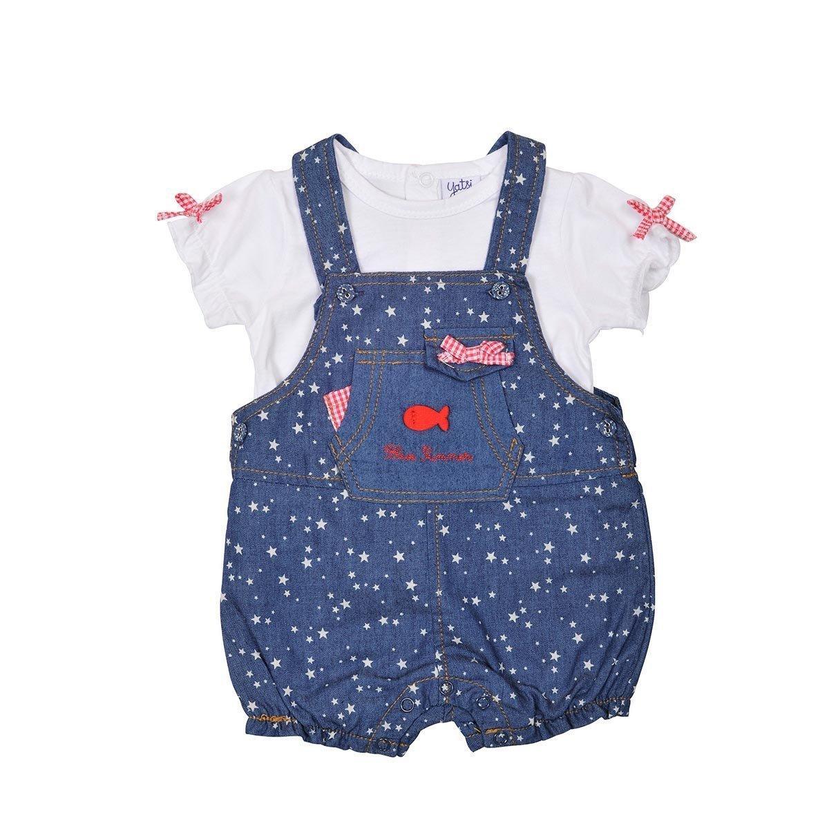Conjunto peto  con camiseta para niña Stars