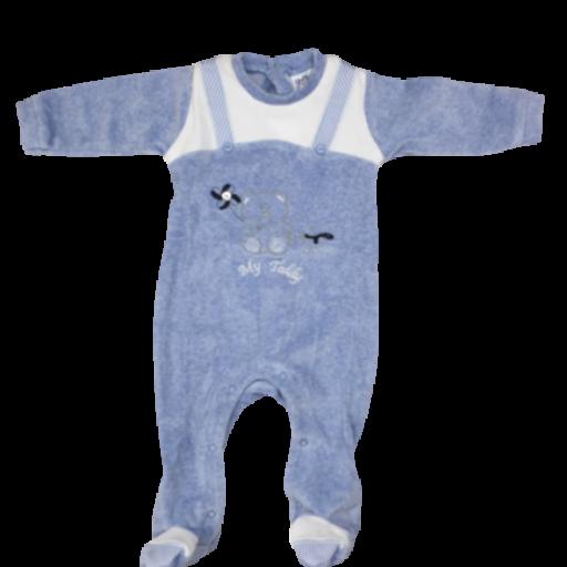 Pelele tundosado para niño en azul vigoré Teddy